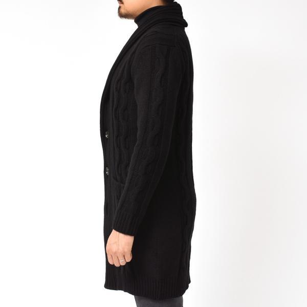 Settefili Cashmere(セッテフィーリ カシミア)ウール カシミヤ ケーブル ショールカラー ロングカーディガン realclothing 12