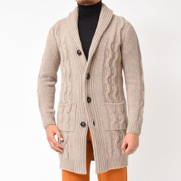 Settefili Cashmere(セッテフィーリ カシミア)ウール カシミヤ ケーブル ショールカラー ロングカーディガン realclothing 17