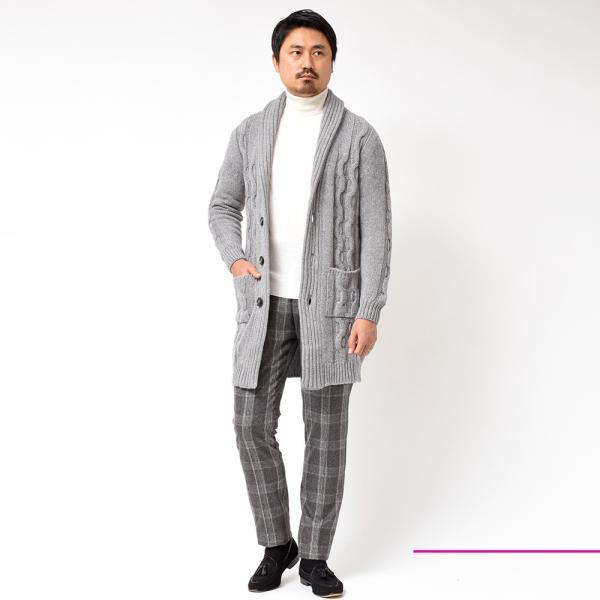 Settefili Cashmere(セッテフィーリ カシミア)ウール カシミヤ ケーブル ショールカラー ロングカーディガン realclothing 09