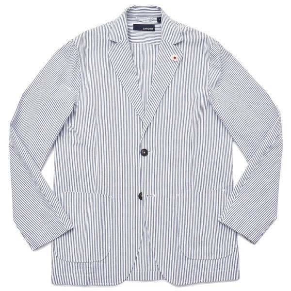 LARDINI ラルディーニ AMAJ コットン シアサッカー ストライプ シングル2Bシャツジャケット realclothing