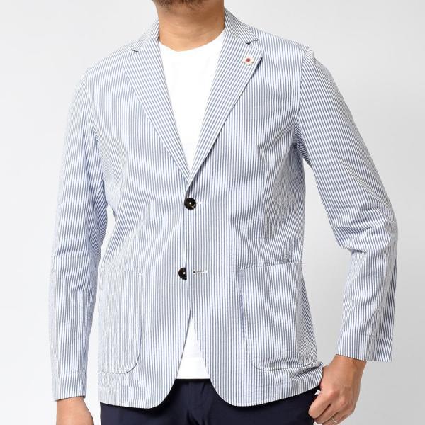 LARDINI ラルディーニ AMAJ コットン シアサッカー ストライプ シングル2Bシャツジャケット realclothing 03