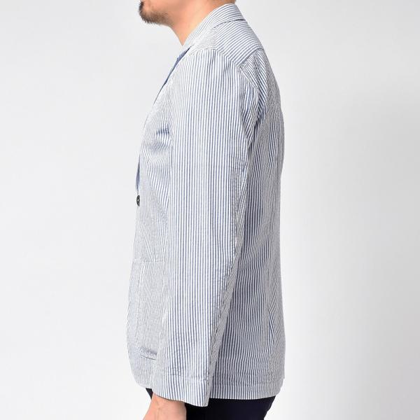 LARDINI ラルディーニ AMAJ コットン シアサッカー ストライプ シングル2Bシャツジャケット realclothing 05
