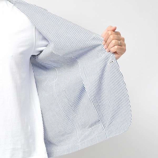 LARDINI ラルディーニ AMAJ コットン シアサッカー ストライプ シングル2Bシャツジャケット realclothing 06