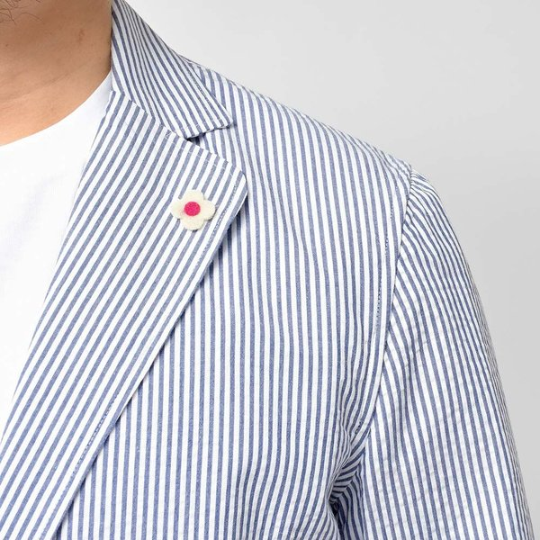 LARDINI ラルディーニ AMAJ コットン シアサッカー ストライプ シングル2Bシャツジャケット realclothing 07
