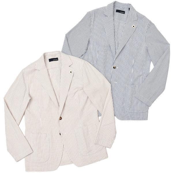 LARDINI(ラルディーニ)コットン シアサッカー ストライプ シングル2Bシャツジャケット|realclothing
