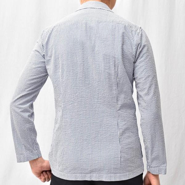 LARDINI(ラルディーニ)コットン シアサッカー ストライプ シングル2Bシャツジャケット|realclothing|12