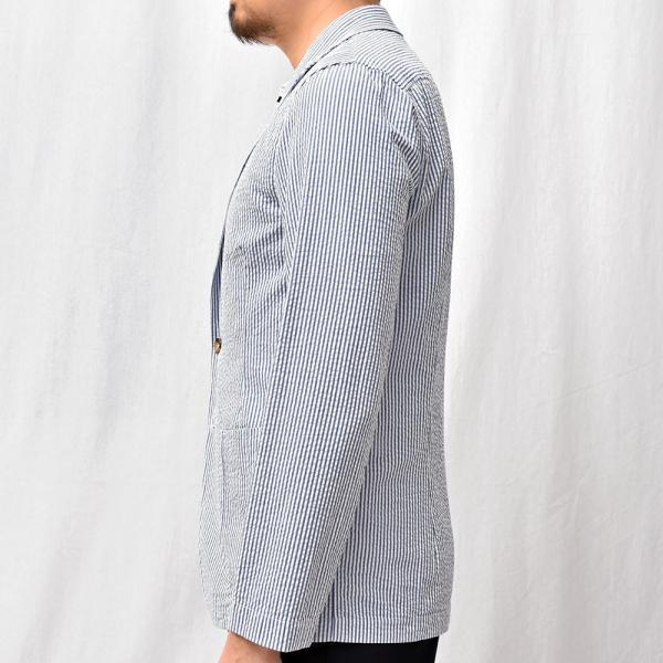 LARDINI(ラルディーニ)コットン シアサッカー ストライプ シングル2Bシャツジャケット|realclothing|13
