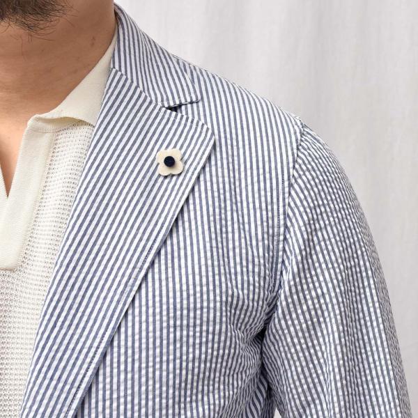 LARDINI(ラルディーニ)コットン シアサッカー ストライプ シングル2Bシャツジャケット|realclothing|15