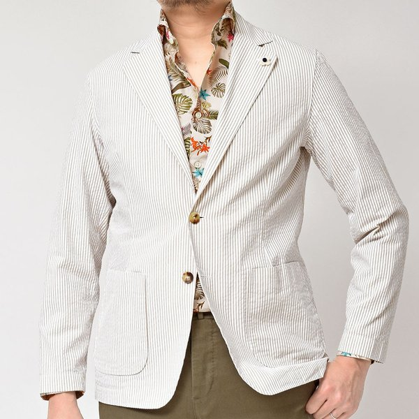 LARDINI(ラルディーニ)コットン シアサッカー ストライプ シングル2Bシャツジャケット|realclothing|04