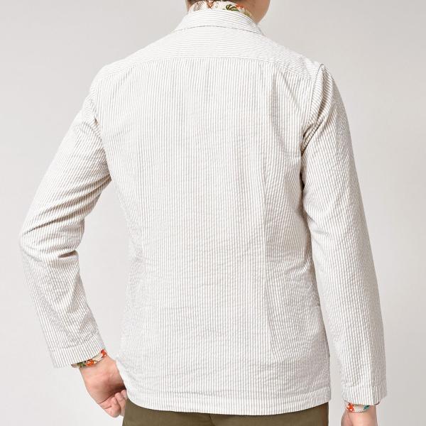 LARDINI(ラルディーニ)コットン シアサッカー ストライプ シングル2Bシャツジャケット|realclothing|05