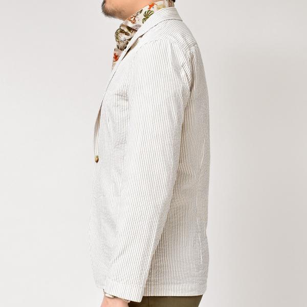 LARDINI(ラルディーニ)コットン シアサッカー ストライプ シングル2Bシャツジャケット|realclothing|06