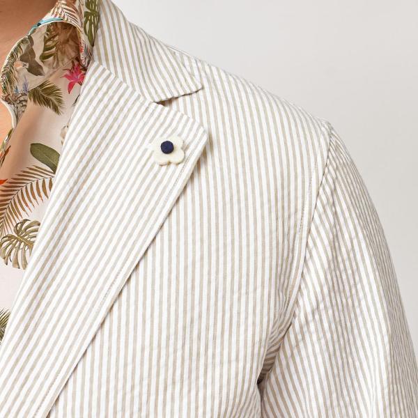 LARDINI(ラルディーニ)コットン シアサッカー ストライプ シングル2Bシャツジャケット|realclothing|08
