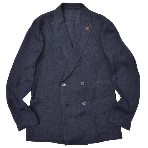 LARDINI(ラルディーニ)リネン メランジ ダブル4Bシャツジャケット|realclothing
