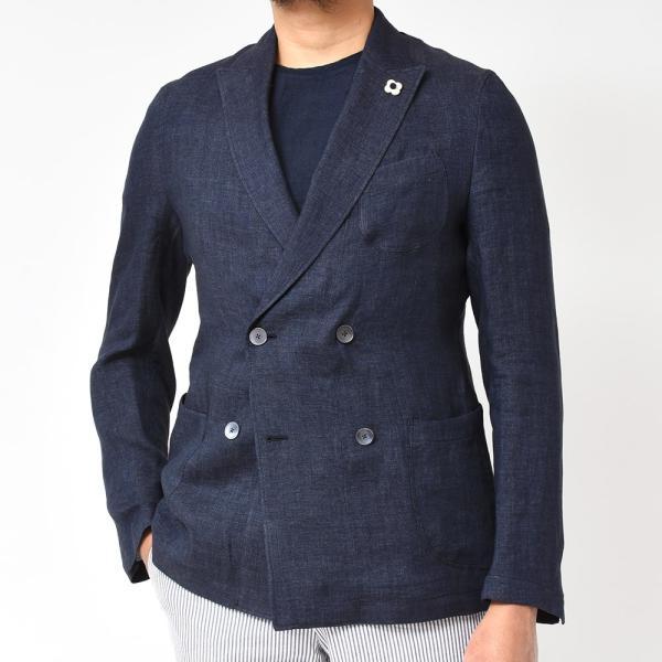 LARDINI(ラルディーニ)リネン メランジ ダブル4Bシャツジャケット|realclothing|04