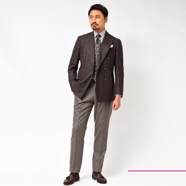 Stile Latino(スティレ ラティーノ)ウール フランネル メランジ ダブル6Bジャケット realclothing 11