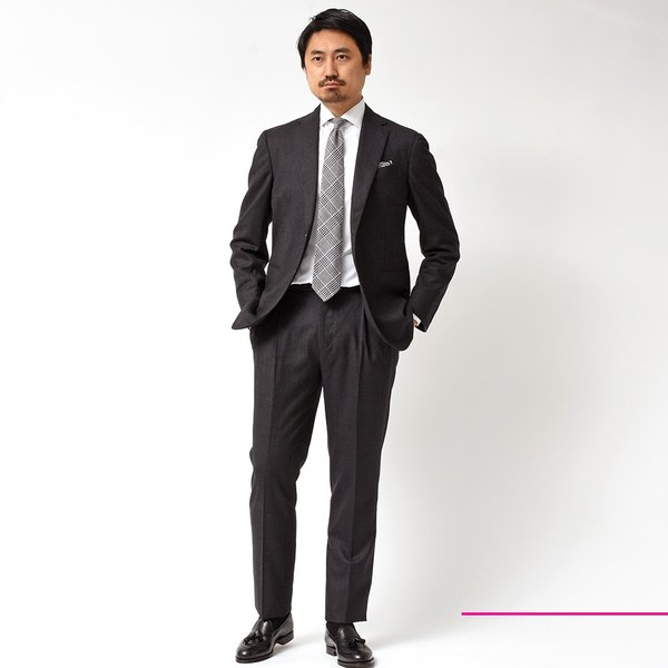 Stile Latino スティレ ラティーノ ヴァージンウール メランジ グレンチェック 1プリーツ シングル3Bスーツ|realclothing|02