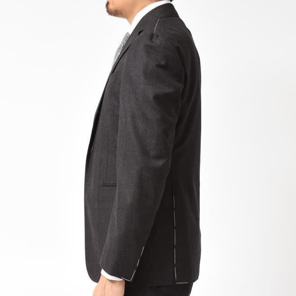 Stile Latino スティレ ラティーノ ヴァージンウール メランジ グレンチェック 1プリーツ シングル3Bスーツ|realclothing|05