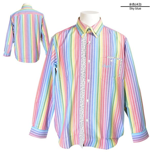 パジェロ PAGELO 長袖 カジュアルシャツ メンズ 2020春夏 ストライプ ロゴ 04-1141-07|realtree|02