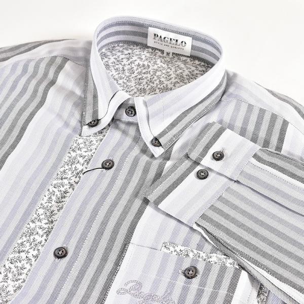 パジェロ PAGELO 長袖 カジュアルシャツ メンズ 2020春夏 ストライプ ロゴ 04-1141-07|realtree|04