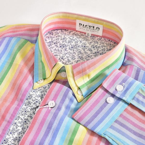 パジェロ PAGELO 長袖 カジュアルシャツ メンズ 2020春夏 ストライプ ロゴ 04-1141-07|realtree|06