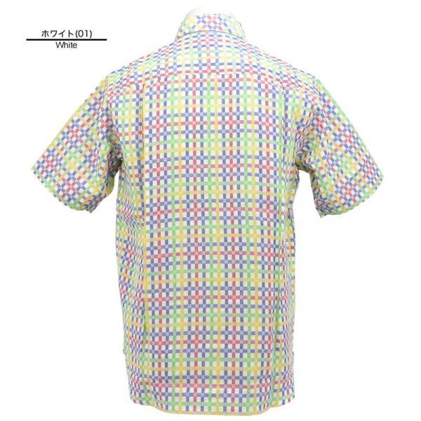 アウトレット アンジェロガルバス ANGELO GARBASUS ボタンダウンシャツ半袖 チェック柄 総柄 ワッペン 派手 薄手 63-2162-03-01|realtree|03