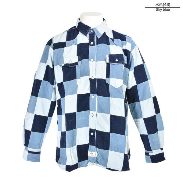 特価商品 50%OFF ALCOTT HILL アルコットヒル 長袖パッチワークシャツ メンズ 秋冬 コールテン 水色 87-1006-10-43|realtree|02