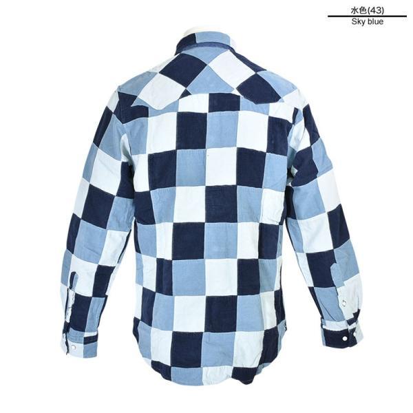 特価商品 50%OFF ALCOTT HILL アルコットヒル 長袖パッチワークシャツ メンズ 秋冬 コールテン 水色 87-1006-10-43|realtree|03