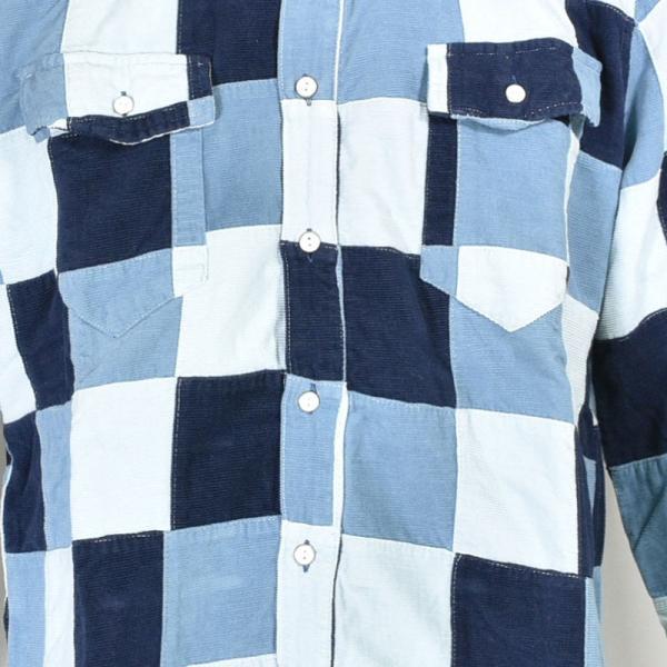 特価商品 50%OFF ALCOTT HILL アルコットヒル 長袖パッチワークシャツ メンズ 秋冬 コールテン 水色 87-1006-10-43|realtree|06