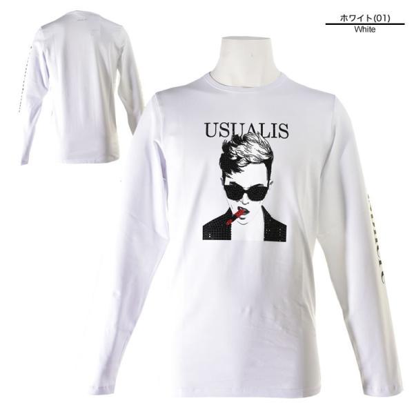 SALE 30%OFF ウザリス USUALIS 長袖Tシャツ メンズ 春夏 ストレッチ 袖プリント 人物 ラインストーン 91-1505-60|realtree|02