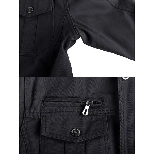 KEFITEVD 作業ジャケット メンズ アウトドア ブルゾン 保温 ライダース アメカジ 大きいサイズ おしゃれ ブラック L reap 02