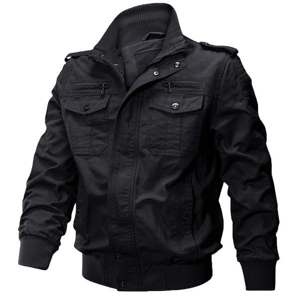 KEFITEVD 作業ジャケット メンズ アウトドア ブルゾン 保温 ライダース アメカジ 大きいサイズ おしゃれ ブラック L reap 03