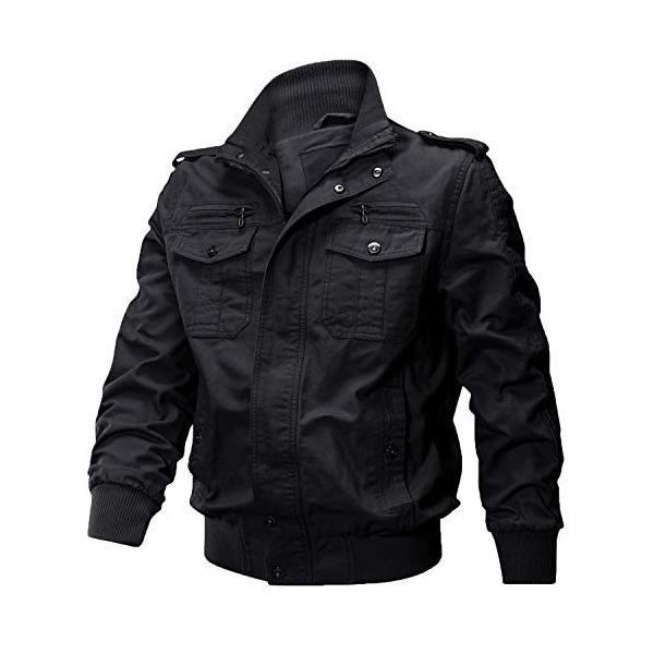 KEFITEVD 作業ジャケット メンズ アウトドア ブルゾン 保温 ライダース アメカジ 大きいサイズ おしゃれ ブラック L reap 05