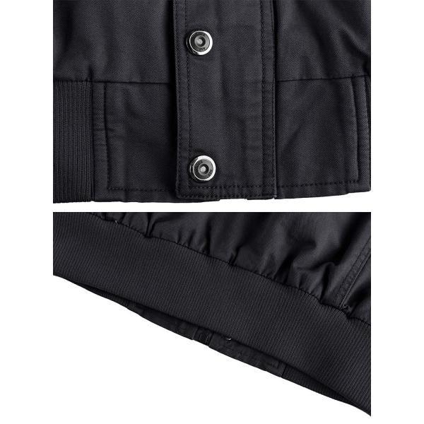 KEFITEVD 作業ジャケット メンズ アウトドア ブルゾン 保温 ライダース アメカジ 大きいサイズ おしゃれ ブラック L reap 08