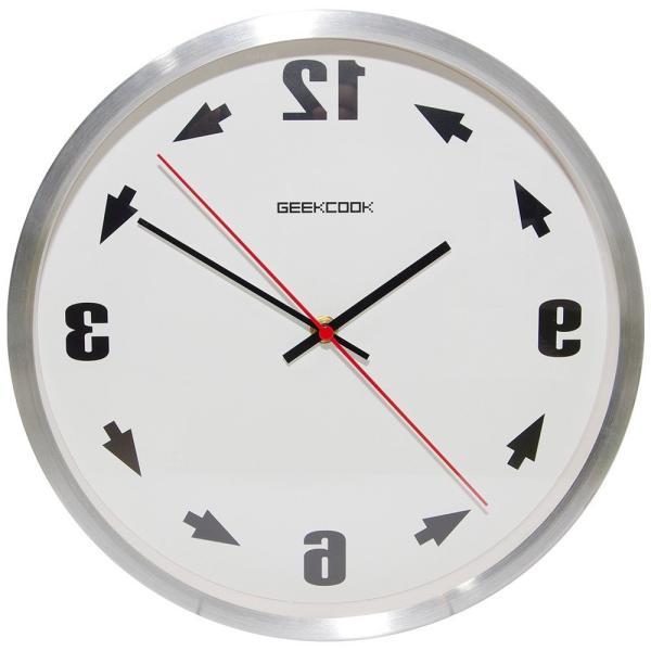 反転 壁掛け 時計 反対 逆回転 反時計回り 鏡面 鏡 逆転 メタル 金属 ウォール クロック 化粧鏡 インテリア 雑貨 シルバー NS-GYCLOCK-SV|rebias|02