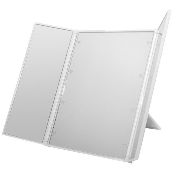 卓上 LEDライト ミラー 鏡 卓上 三面鏡 メイクミラー 化粧鏡 卓上ミラー ブライトニングミラー ハート型 LED ホワイト NS-LED-3MR-WH|rebias|02