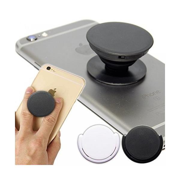 スマートフォン スマホ 落下防止 多機能 リング ポップアップ 車載ホルダー スタンド iPhone アクセサリー ブラック NS-SMAPOP-BK|rebias