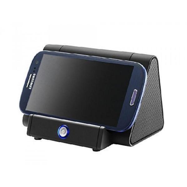 スマートフォン スピーカー スマホ 置くだけ シアター スピーカー ポータブル YouTube 映画 観賞 横置き 配線不要 ブラック NS-GL-SSS100-BK rebias 05