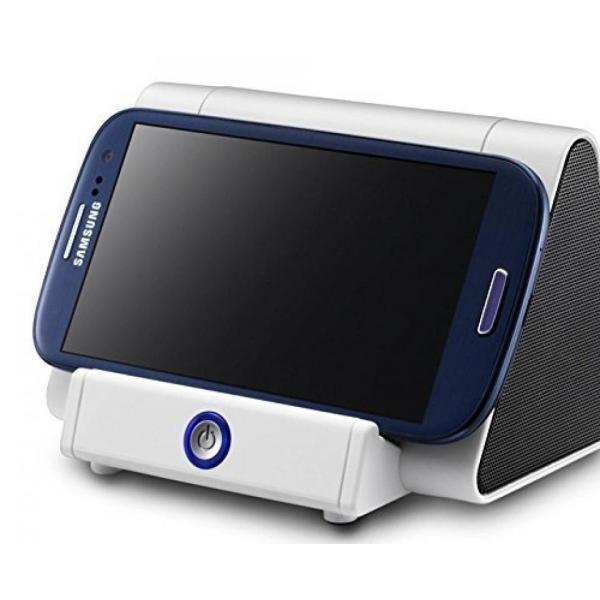 スマートフォン スピーカー スマホ 置くだけ シアター スピーカー ポータブル YouTube 映画 観賞 横置き 配線不要 ホワイト NS-GL-SSS100-WH|rebias|06