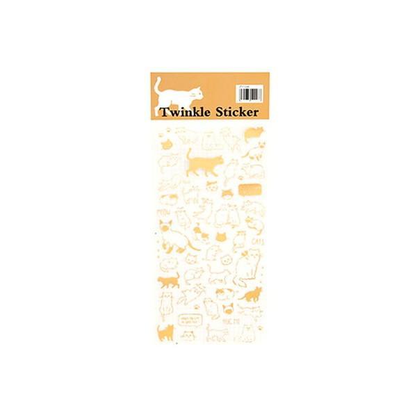 ゴールドポイントシール 猫 キャット グッズ ステッカー 花 文字 ゴールド 可愛い おしゃれ 本 ブック 手帳 記録 可愛い