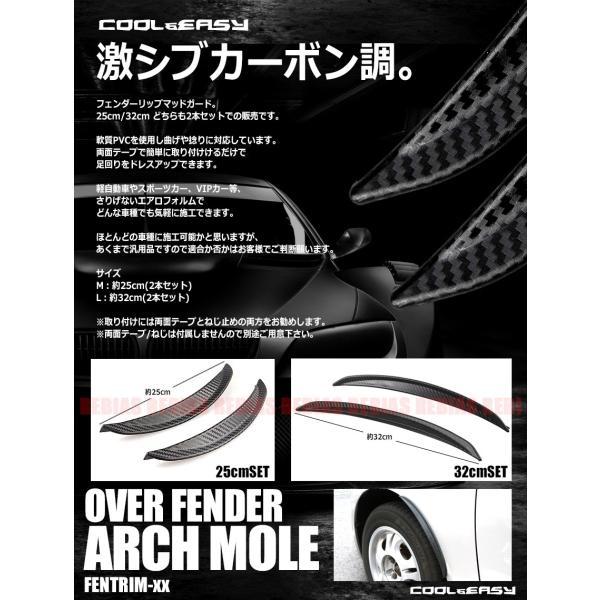ドライカーボン調 フェンダーモール マッドガード オーバーフェンダー 2本セット 軟質PVC 外装|rebias|02