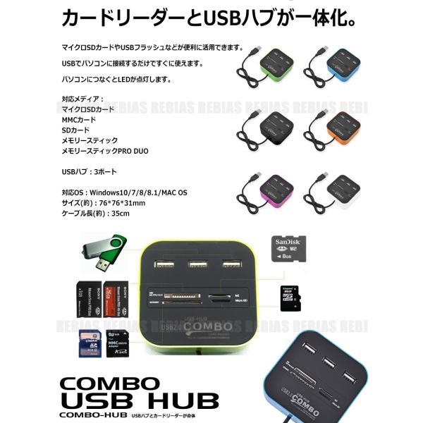 カードリーダー USB ハブ HUB マルチ USB2.0 microSD MMC SD USBメモリ メモリースティック rebias 02