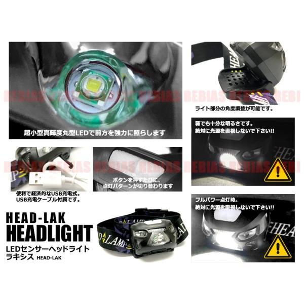 センサー ヘッドライト USB 充電式 高輝度 丸型 超小型LED 超強力 フラッシュ 点滅 ヘッドランプ LED 作業灯|rebias|02