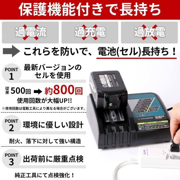 マキタ バッテリー 18V 互換性 1860 BL1860B 互換 残量表示付き 1年保証 3個セット|rebuild-store|04