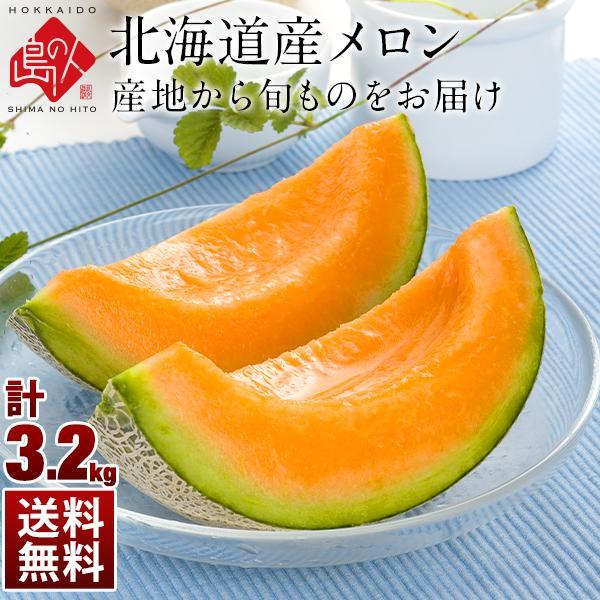 島の人 北海道産 メロン おまかせメロン 3.2kg(2玉)  果物 フルーツ 送料無料 ご自宅用 お取り寄せグルメ ギフト