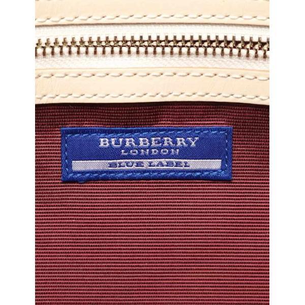 バーバリーブルーレーベル BURBERRY BLUE LABEL ハンドバッグ ミニボストン チェック柄 ナイロンキャンバス レザー グレー 黒 白 レディース 中古|reclo-as-shopping|06