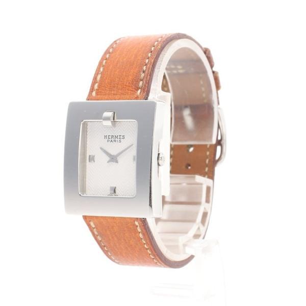 エルメスHERMESベルトウォッチレディース腕時計クオーツSSレザーライトブラウンシルバーギョーシェ文字盤□C刻印BE1.210