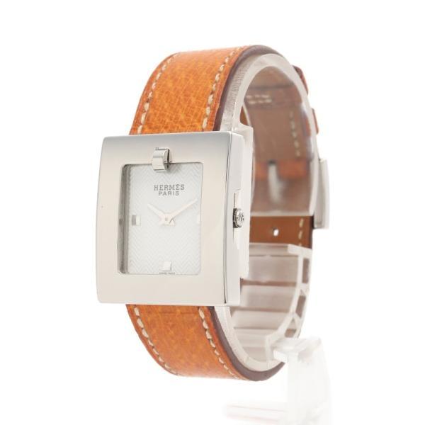 エルメスベルトウォッチレディース腕時計クオーツSSレザーシルバーブラウンブラックホワイトギョーシェ文字盤□D刻印BE1.210レ
