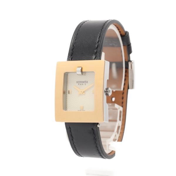 エルメスベルトウォッチレディース腕時計クオーツGPSSレザーゴールドシルバーブラックアイボリーギョーシェ文字盤□D刻印BE1.1