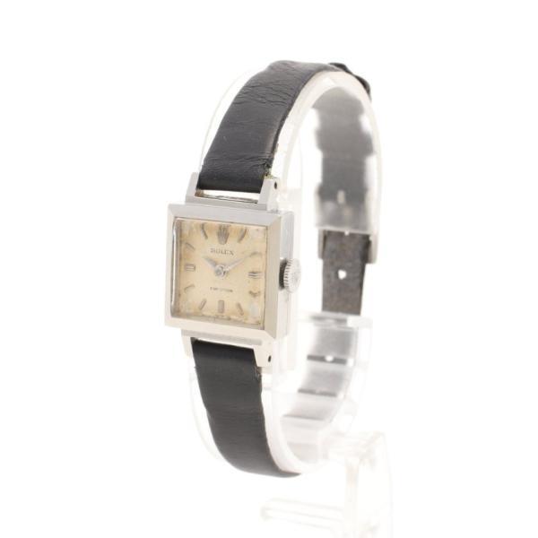 ロレックスROLEXプレシジョンレディース腕時計手巻きSSレザーシルバーブラックシルバー文字盤アンティーク3408レディース中古