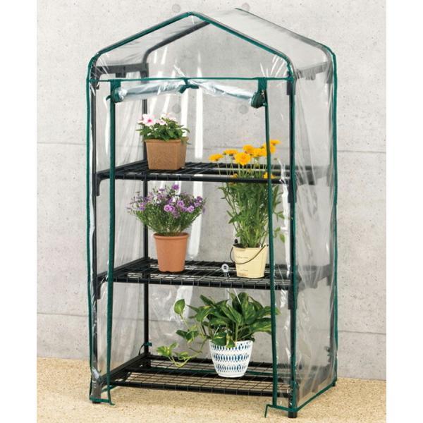 ビニール温室棚 3段 植物を守る 組み立て簡単 工具不要 ビニールハウス フラワーラック OST2-03BK